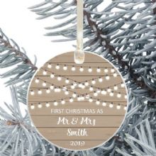 First Christmas as Mr and Mrs Keepsake Ceramic Christmas Tree Decoration - Rustic Wood Design